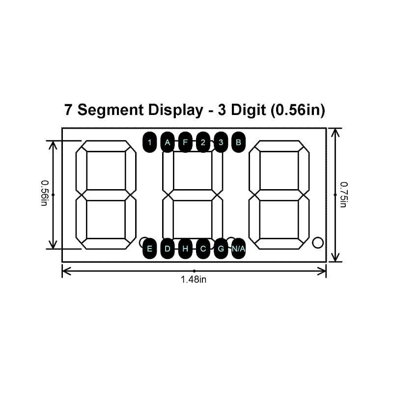 0.56 inch Red 3 Digit 7 Segment LED Display CC 12pin