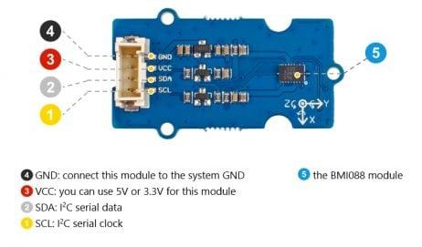 Grove - 6-Axis Accelerometer&Gyroscope(BMI088)- Pin Diagram