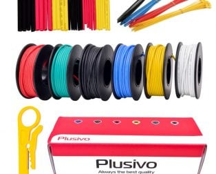 Plusivo 22AWG Hook up Wire Kit - 600V Tinned Stranded Silicone Wire of 6 Different Colors