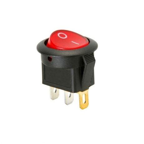 10A 250V AC SPDT ON-OFF Round Rocker Switch with Light– 2Pcs.