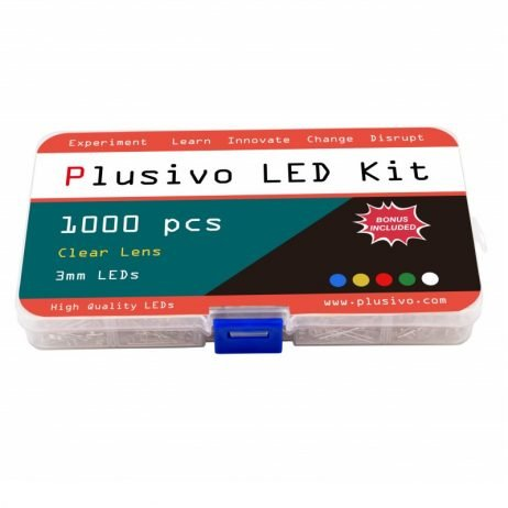 Plusivo 3mm Clear Lens LED Assortment Kit with Bonus Resistor Pack