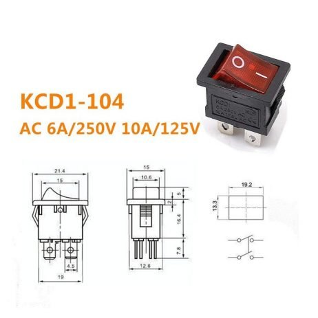 6A 250V DPST ON-OFF Rocker Switch with Light
