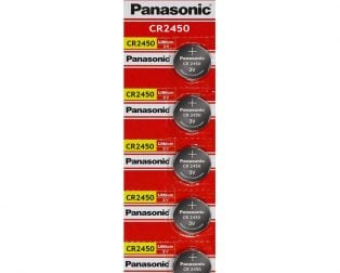 Panasonic CR2450 3V Lithium Coin Battery-5Pcs.
