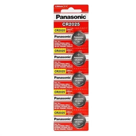 Panasonic CR2025 3V Lithium Coin Battery-5Pcs.