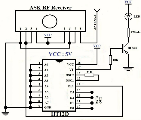 RF receiver circuit diagram
