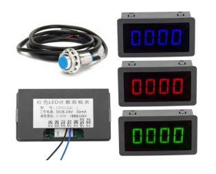 LED 4 digital blue green red measurement indicators tachometer+hall proximity switch sensor NPN