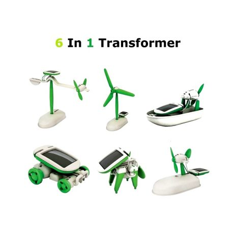 6 in 1 DIY Solar Powered Car Windmill Puppy Airboat Plane Learning Toy Kit