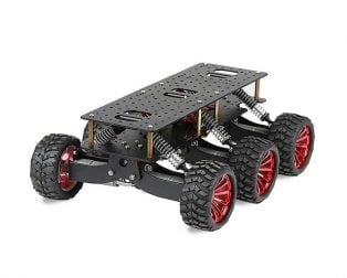 Black 6WD Search Rescue Platform Smart Car Chassis Damping Off-Road Climbing WIFI Car
