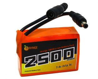 Orange 18650 Li-ion 2500mAh 7.4v 2S1P Protected Battery Pack-3c