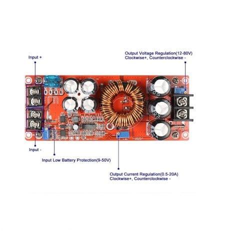 1200w DC DC Boost Step Up Converter 8-60V to 12-83V 20A For Car Laptop Solar Battery