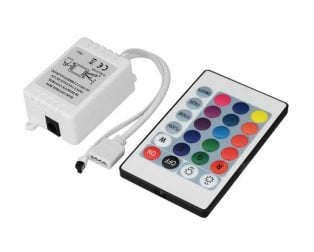12V 5050 RGB LED Strip Controller box with 24 Key IR Remote Control