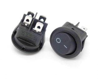 6A 250V AC DPST ON-OFF Black Round Rocker Switch