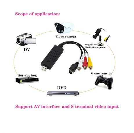 USB2.0 Audio Video Capture Card Adapter VHS To DVD Video Capture Converter