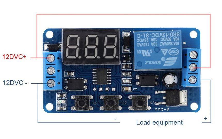 12V Relay Module with Automatic Delay Timer