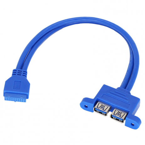 2 Port USB 3.0 Female to 20 Pin Motherboard Header Connection Cable - 50cm