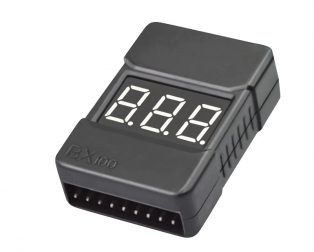 BX100 1-8S Lipo Battery Voltage Tester Low Voltage Buzzer Alarm Battery Voltage Checker with Dual Speakers