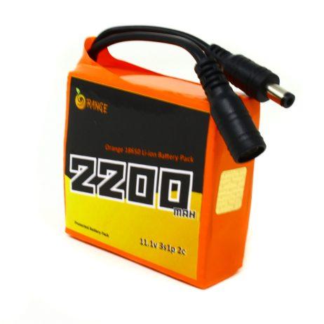 Orange 18650 Li-ion 2200mAh 11.1v 3S1P Protected Battery Pack-2c
