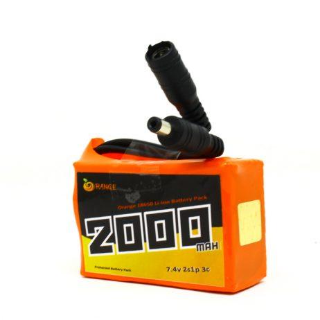 Orange 18650 Li-ion 2000mAh 7.4v 2S1P Protected Battery Pack-3c