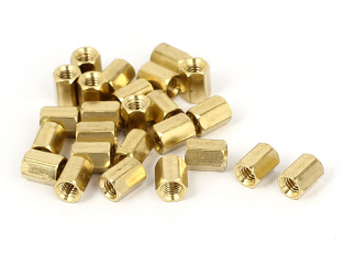 M3 X 5 mm Female to Female Brass Hex Threaded Pillar Standoff Spacer-24 pcs.