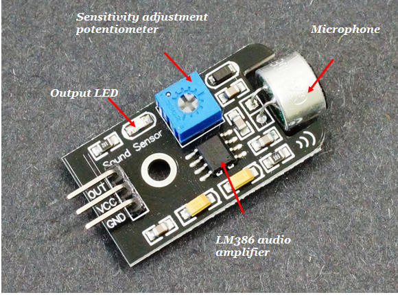 Pin configuration and components of sound sensor