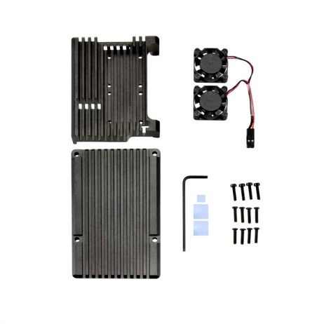 Aluminum Heat Sink Case with Double Fans for Raspberry Pi 4B - Black