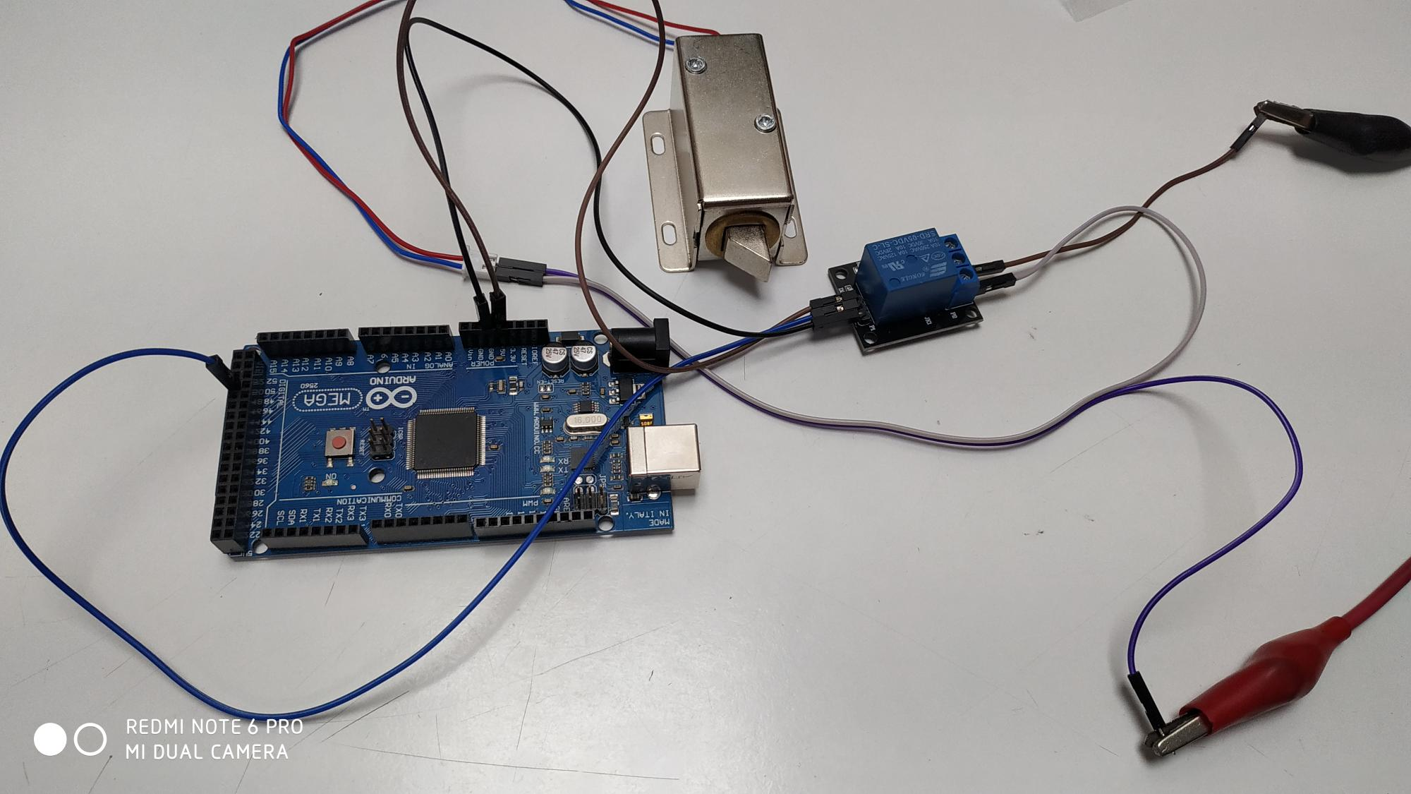 Connection of Relay and Door lock solenoid with arduino Mega