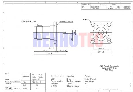 TNC 4Hole Square Flange Straight Female Connector for Panel Mount