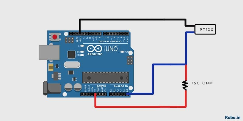 Connection Diagram - PT100-S Interfacing with Arduino - Robu.in