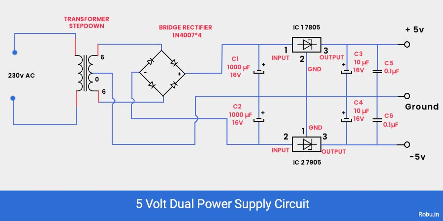 5v Dual power supply circuit.
