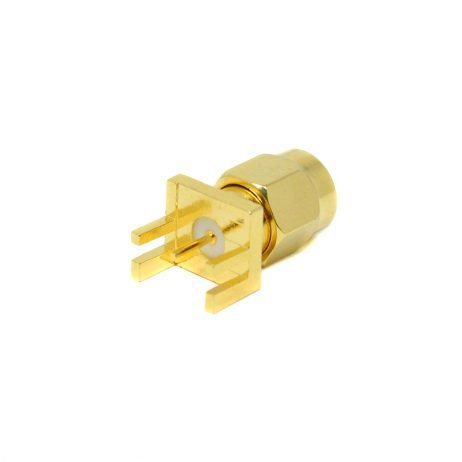 SMA Male Connector Straight Gold Plating 180 Degree Connector Plate Edge Mount