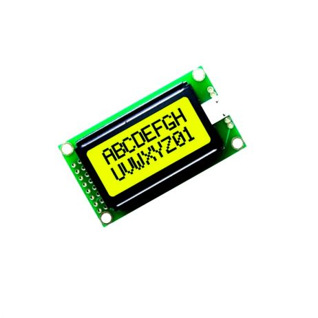 JHD 8×2 Character LCD Display With Yellow Backlight