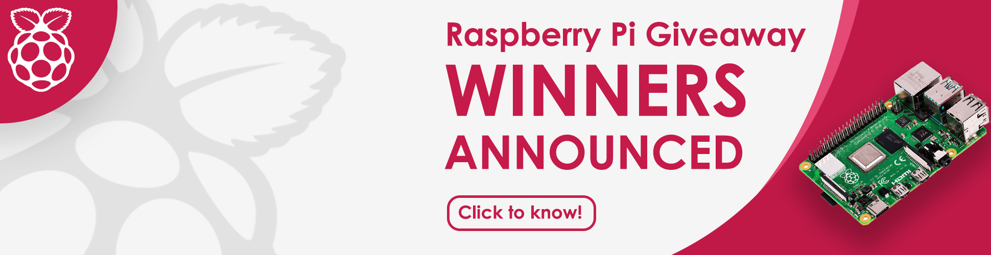 Raspberry Pi Giveaway Winners Announcement - Arpil 2021 Banner