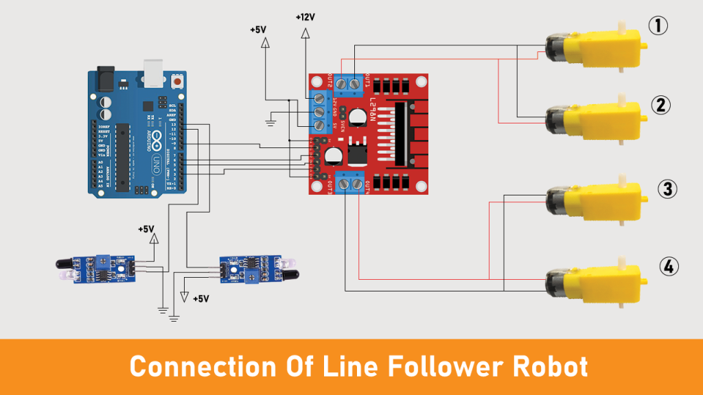 Line follower robot connection