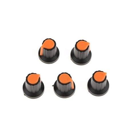 Potentiometer Knob Rotary Switch Cap Orange Color- Pack of 5 Pcs.