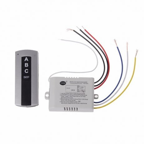 Wireless 3 Channel OnOff Lamp Remote Control Switch Receiver Transmitter
