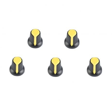 Potentiometer Knob Rotary Switch Cap Yellow Color- Pack of 5 Pcs.