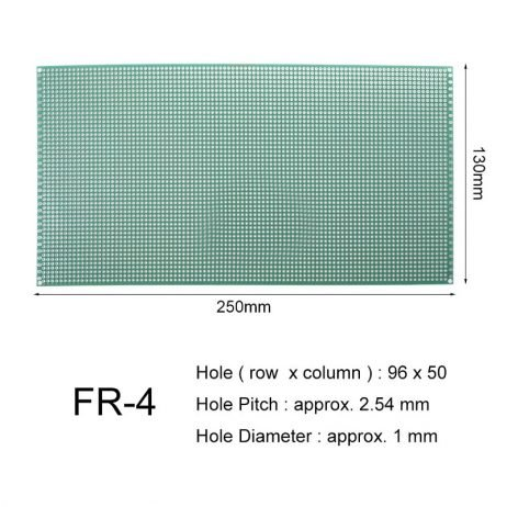 13 x 25 cm Universal PCB Prototype Board Single-Sided 2.54mm Hole Pitch