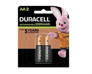 Duracell Rechargeable Batteries AA 2500mAh (Pack of 2)