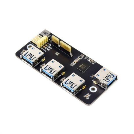 Waveshare PCIe TO USB 3.2 Gen1 Adapter, for Raspberry Pi Compute Module 4 IO Board, 4x HS USB