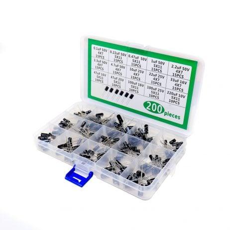 ORANGE 200PCS 0.1uf 50V-220uF 10V Electrolytic Capacitors Kit