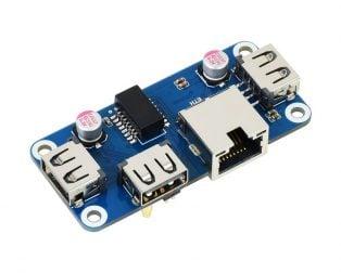 Waveshare Ethernet / USB HUB HAT (B) for Raspberry Pi Series, 1x RJ45, 3x USB 2.0