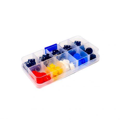 ORANGE 25PCS 12*12*7.3mm Push Button Switch Kit with 5 Colours Caps